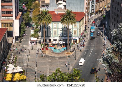 Valparaiso, Chile - Mar 19, 2018: Aerial view of Plaza Anibal Pinto Square - Valparaiso, Chile