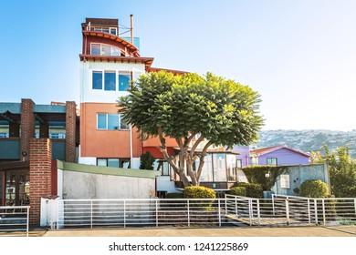 Valparaiso, Chile - Mar 20, 2018: La Sebastiana, the house of Poet Pablo Neruda - Valparaiso, Chile