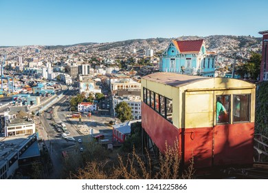 Valparaiso, Chile - Mar 21, 2018: Aerial view of Valparaiso and Ascensor Artilleria Lift at Cerro Artilleria Hill - Valparaiso, Chile