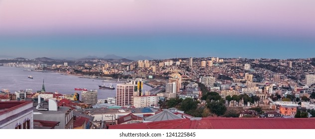 Valparaiso, Chile - Mar 22, 2018: Panoramic aerial view of Valparaiso from Cerro Alegre Hill at sunset - Valparaiso, Chile