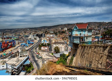 VALPARAISO, CHILE - MAR 7: The Artilleria funicular in Valparaiso, Chile on March 7, 2017. The elevator was built in 1892 along the sea port and is 175 meters tall.