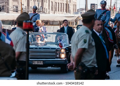 Valparaiso, Chile -  March 11, 2018: President Michelle Bachelet arrives at the National Congress in the traditional Ford Galaxy for the change of command of the new government of Sebastian Pinera