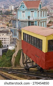 VALPARAISO, CHILE - MARCH 23, 2015: Carriage of the historic Ascensore Arttilleria travelling up a steep hillside in port city of Valparaiso in Chile