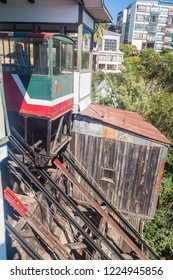 VALPARAISO, CHILE - MARCH 29, 2015: Passenger carriage of funicular railway in Valparaiso, Chile.