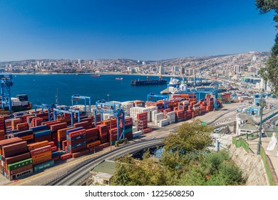 VALPARAISO, CHILE - MARCH 29, 2015: Cranes in a port of Valparaiso, Chile