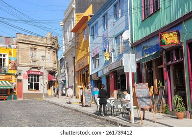 VALPARAISO, CHILE - MAY 29, 2015: View of the streets in the historical center of the city on May 29, 2015 in Valparaiso, Chile.