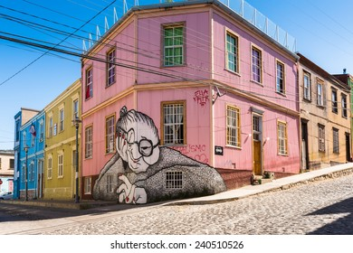 VALPARAISO, CHILE - NOV 9, 2014: Colourful graffiti on a house in Valparaiso, Chile. Valparaiso Historic centre is a UNESCO world heritage site