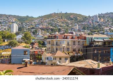 VALPARAISO, CHILE - NOV 9, 2014: Architecture of  Valparaiso, Chile. Valparaiso Historic centre is a UNESCO world heritage site