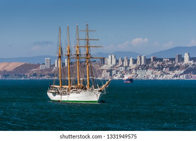 Valparaiso, Chile, November 23, 2017: Esmeralda, a steel-hulled four-masted barquentine tall ship of the Chilean Navy.