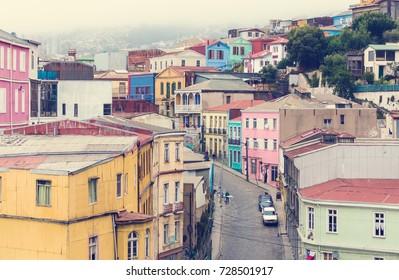 VALPARAISO, CHILE - OCTOBER 27, 2016: Street of Valparaiso during overcast. Valparaiso famous as a UNESCO World Heritage Site.