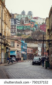 VALPARAISO, CHILE - OCTOBER 27, 2016: Street of Valparaiso during overcast day. Valparaiso is poorest and most dangerous city in Chile.