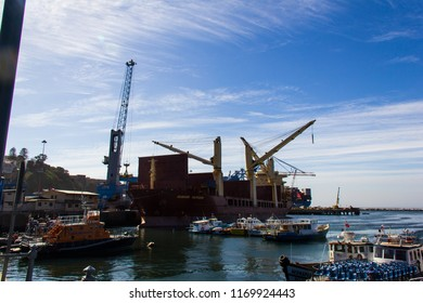 Valparaiso, Chile, september, 15, 2017. The busy cargo seaport in South America in Valparaiso, Chile. It is the most important seaport in Chile.
