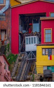 VALPARAISO, CHILE - SEPTEMBER, 15, 2018: Outdoor view of Funicular railway, named Ascensor El Peral, leading up a hill in Valparaiso