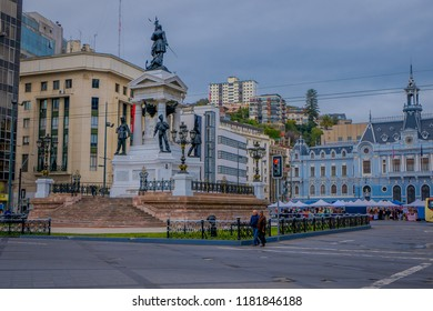 VALPARAISO, CHILE - SEPTEMBER, 15, 2018: Monument To The Heroes Of The Naval Combat Of Iquique In 1879 and the Chilean war hero Arturo Prat, On Plaza Sotomayor. Valparaiso