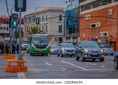 VALPARAISO, CHILE - SEPTEMBER, 15, 2018: Traffic street with cars circulating close to Plaza Sotomayor where is the Monument To The Heroes Of The Naval Combat Of Iquique In 1879 on Valparaiso