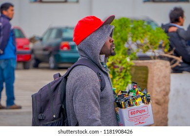 VALPARAISO, CHILE - SEPTEMBER, 15, 2018: Unidentified man selling in the streets of Plaza Sotomayor some candy and chocolates in Valparaiso