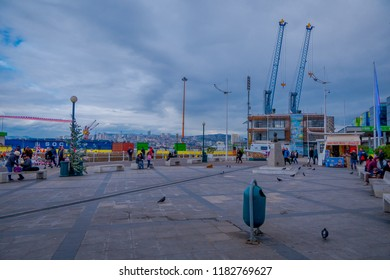 VALPARAISO, CHILE - SEPTEMBER, 15, 2018: Port of Valparaiso. Valparaiso is an important port city on the Pacific Coast of Chile