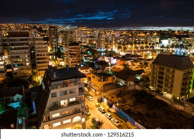 Valparaiso night aerial shot.