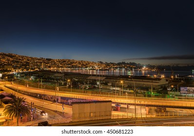 Valparaiso night cityscape from Baron Hill, Chile. Unesco City.