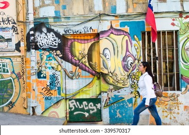 VALPARAISO - NOVEMBER 07: Street art in the districts of the protected UNESCO World Heritage Site of Valparaiso on November 7, 2015 in Valparaiso, Chile
