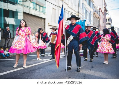 VALPARAISO, QUINTA REGION / CHILE - MAY 21 2016 - Unidentified group of men and women dressed up with typical chilean customs during the festivities of 21th May.