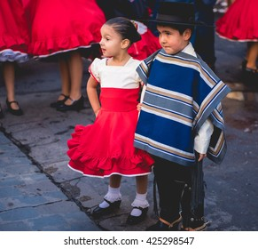 VALPARAISO, QUINTA REGION / CHILE - MAY 21 2016 - Unidentified two little chilean children dressed in typical customs.