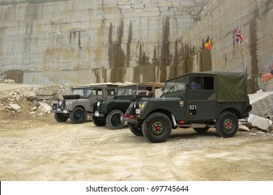 Valpellice, Italy - jun 15-16 2013, Experience Land Rover Series One in stone quarry