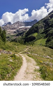 Valpelline, Aosta Valley, Italy. Mountain path near the border with Switzerland.