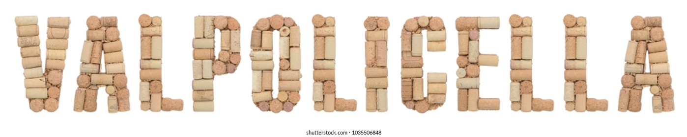 Valpolicella made of wine corks Isolated on white background