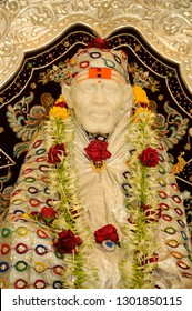 "Valsad, Gujarat, India,  Jan,  2017 : Marble Idol of ""Sai Baba"" Temple; Tithal, Valsad, Gujarat India"