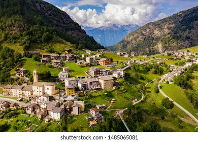 Valtartano - Valtellina (IT) - Aerial view of Campo Tartano with the Ponte nel Cielo