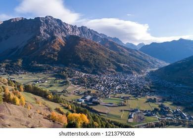 Valtellina, city of Bormio. Panoramic view from Oga
