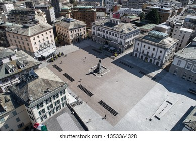 Valtellina, city of Sondrio, Garibaldi square.