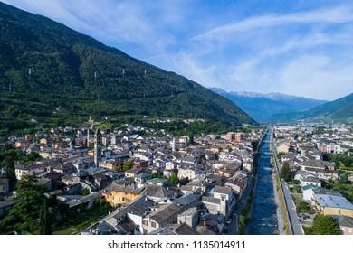 Valtellina, City of Tirano. Aerial shot
