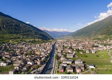 Valtellina, city of Tirano. Panoramic view