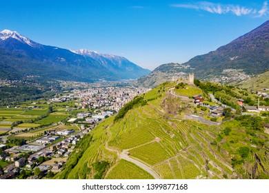 Valtellina (IT) - Grumello vineyards near Sondrio - aerial view