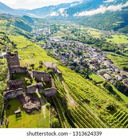 Valtellina (IT) - Sondrio - Aerial view of Castel Grumello and the valley towards the east