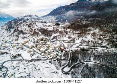 Valtellina (IT) - Sondrio - Frazione Sant'Anna - Winter aerial view