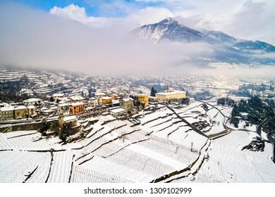Valtellina (IT) - Sondrio - Frazione Sant'Anna - Mossini and Ponchiera - Winter aerial view