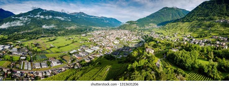 Valtellina (IT) - Sondrio - Grumello vineyards - view towards the west