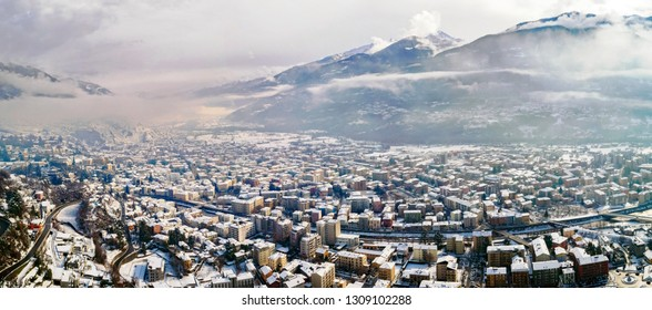 Valtellina (IT) - Sondrio - Winter aerial view