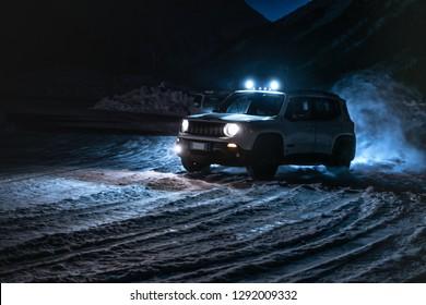 Valtellina, Italia - January 2019 - Jeep Renegade
