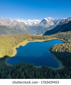 Valtellina, lake Palù in Valmalenco. Aerial view from a drone