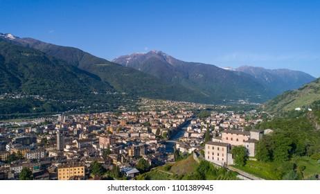 Valtellina, panoramic view of city of Sondrio.