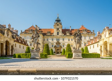 VALTICE, CZECH REPUBLIC - APRIL 19,2018 - View at the Valtice castle. The town Valtice was founded in the 13th century.