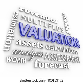 Valuation, revenues, multiples, assets and company net worth 3d word collage to illustrate calculation of a company's or business sale value