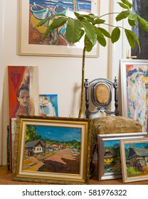 Value of artistic work collection of different subjects canvas framed painting.