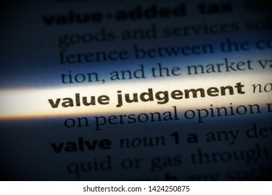 value judgement word in a dictionary. value judgement concept, definition.