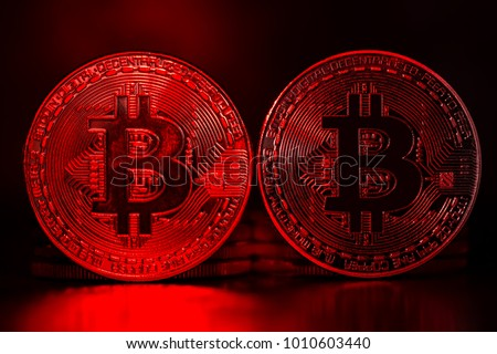Value Loss Bitcoin Coins Red Light Stock Photo (Edit Now