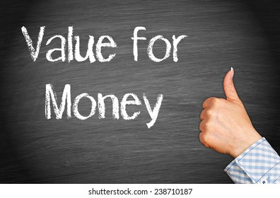 Value for Money - Chalkboard with female hand and thumb up